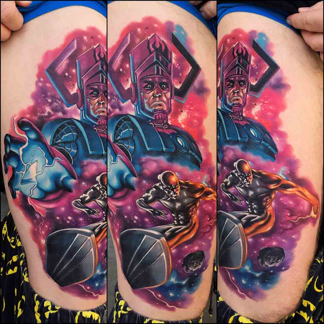 thigh tattoo silver surfer