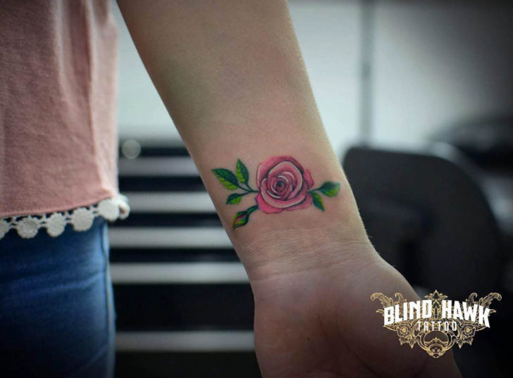 Small Pink Rose Tattoo on Wrist