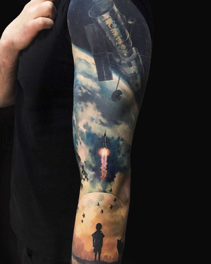 space hubble telescope tattoo sleeve