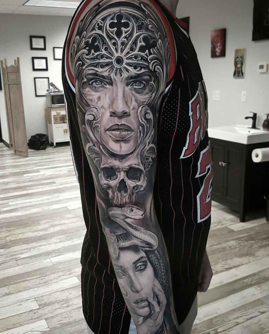 graphic full arm tattoo sleeve
