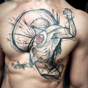 Tear Out Heart Tattoo on Chest