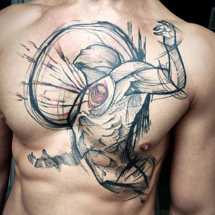 heart man tattoo on chest