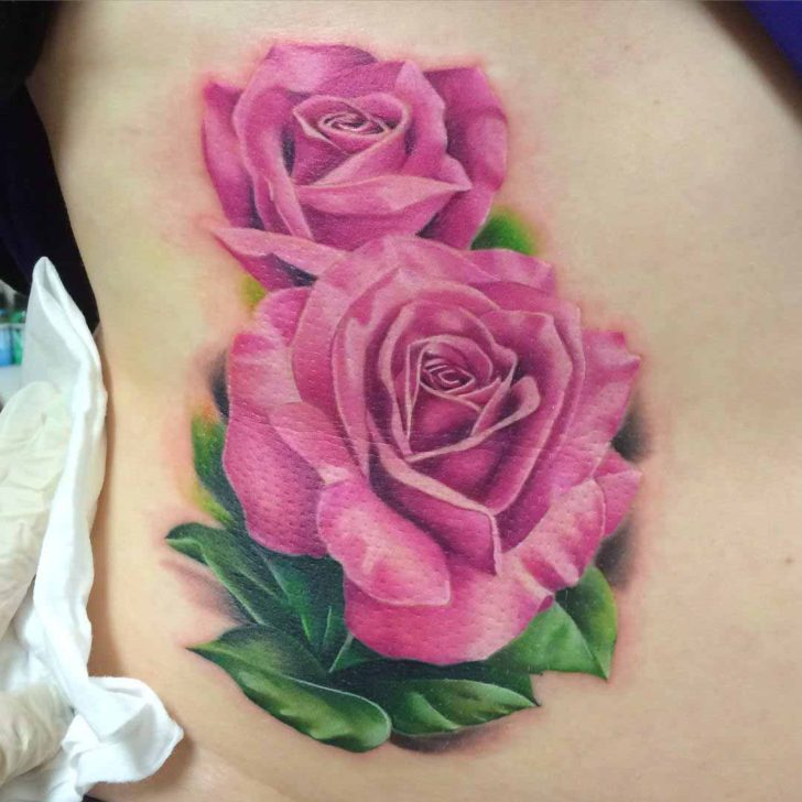 Two Pink Roses Tattoo