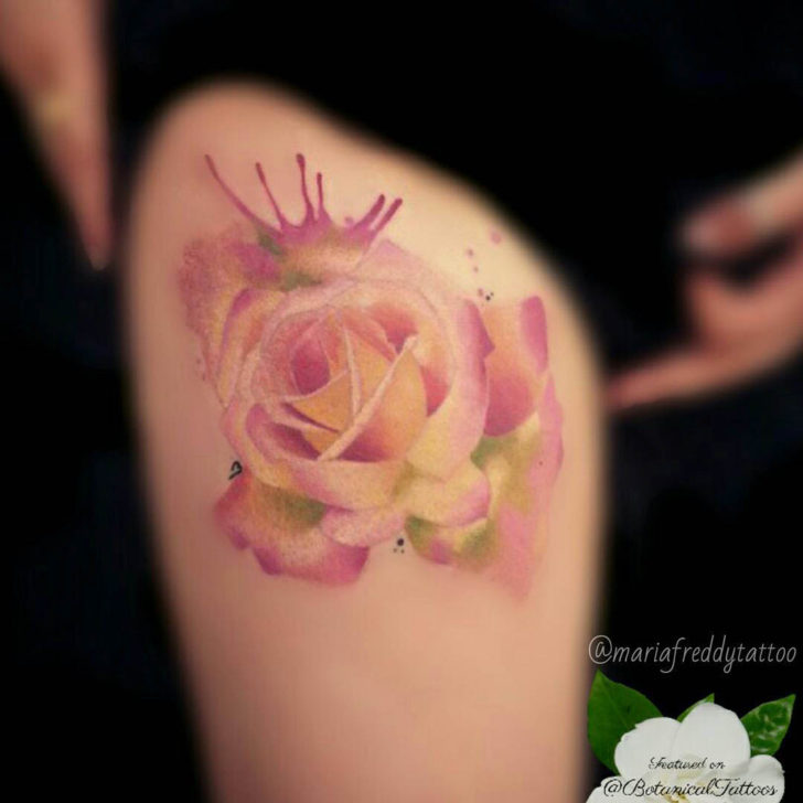Vague Pink Rose Tattoo