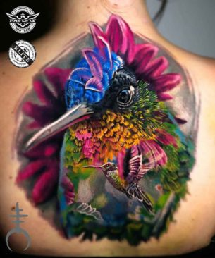 Very Colorful Hummingbird Tattoo on Back