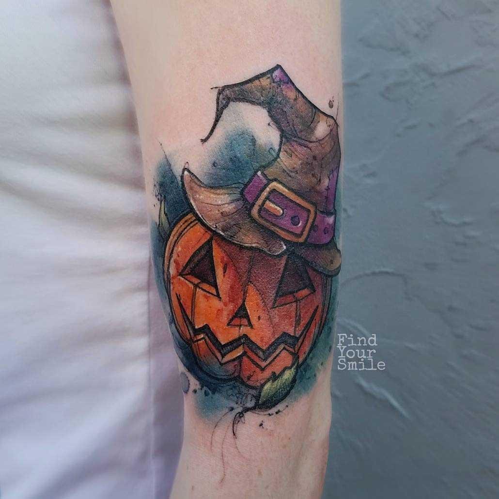pumkin tattoo watercolour jack-o-lantern