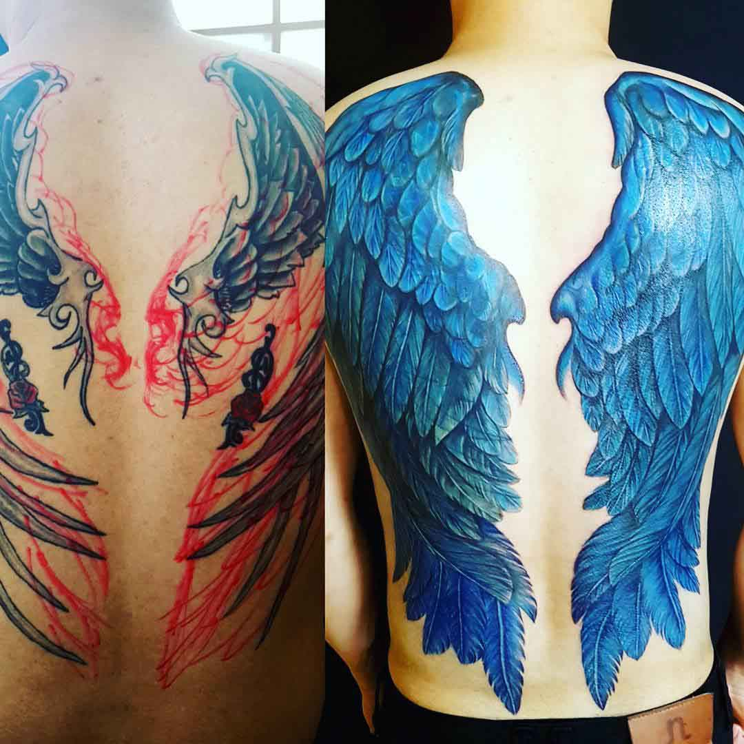 back wings tattoo cover up