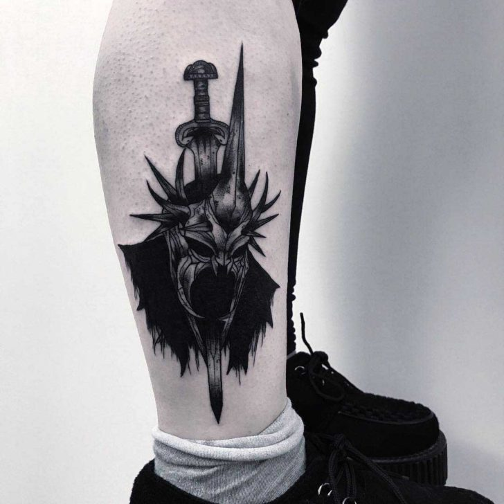 ankle leg tattoo witchking