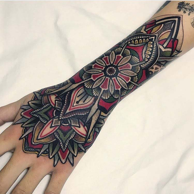 black and red mandala armband tattoo