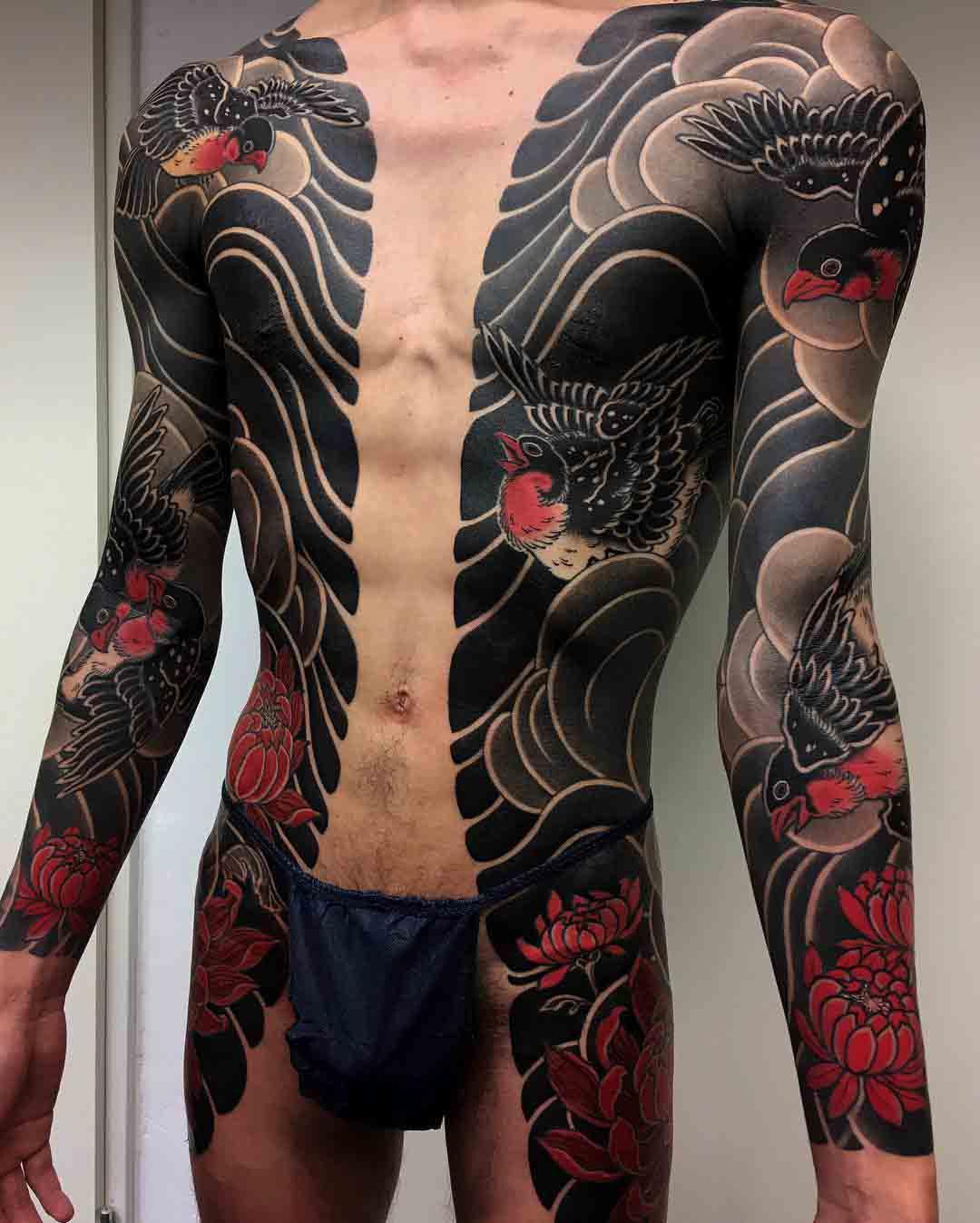 torso sides tattoo yakuza