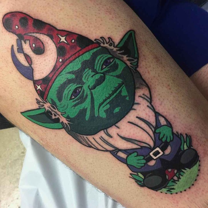 garden gnome tattoo Yoda star wars