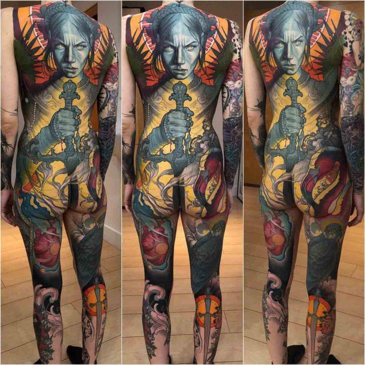 back girl knight tattoo