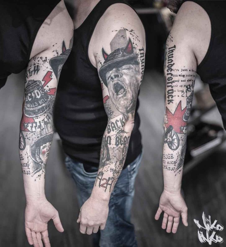 tattoo sleeve trash polka ACDC