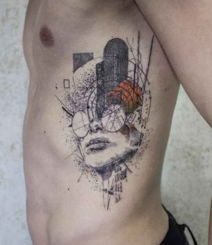 Abstract Tattoo on Ribs