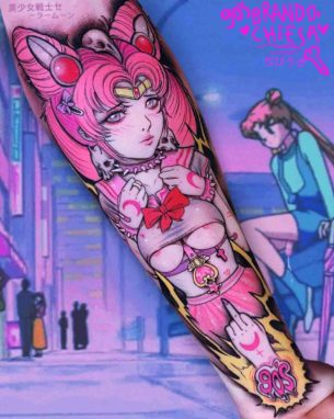 Adult Chibi Moon Tattoo