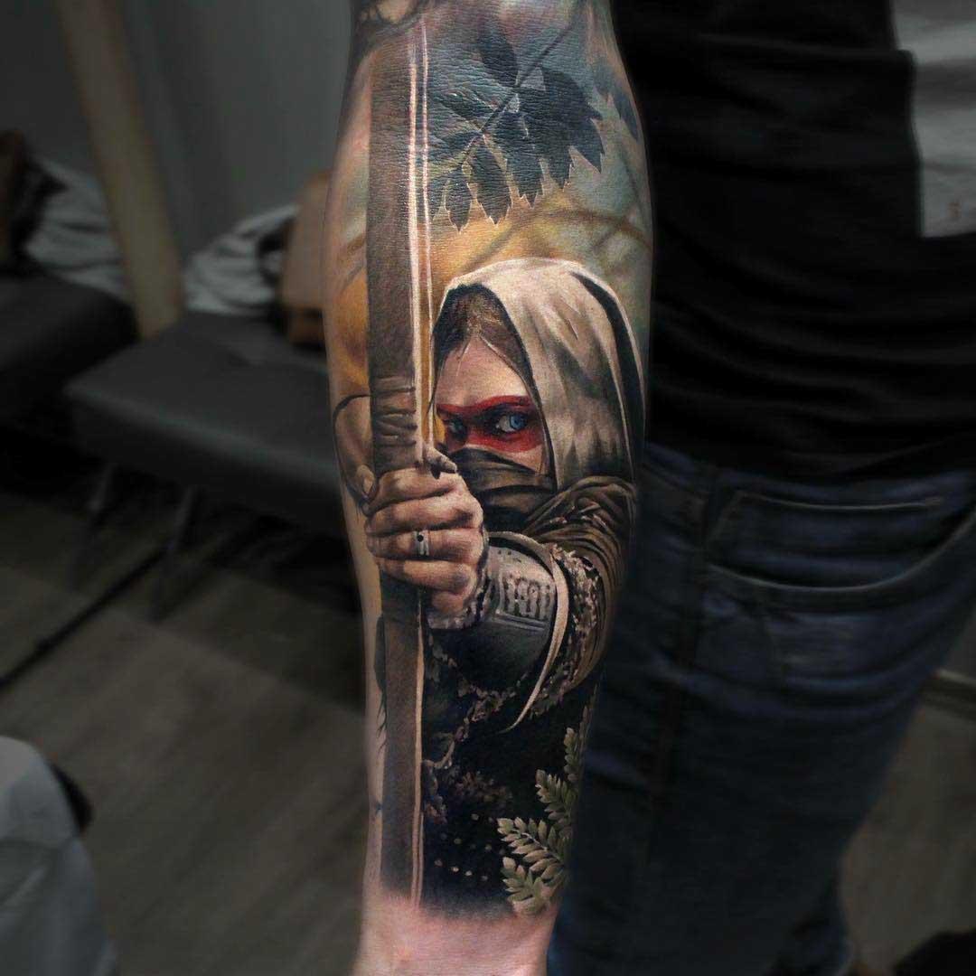 realistic tattoo archer