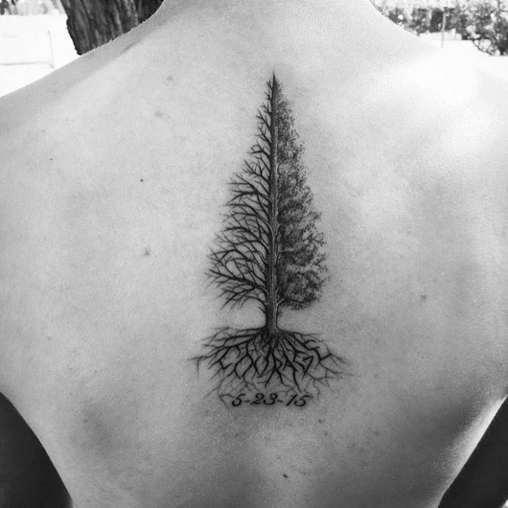 Back Pine Tree Tattoo