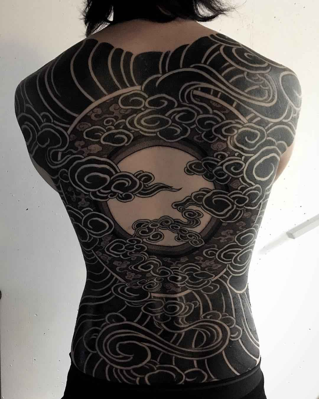 oriental black sky on full back