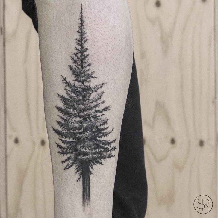 Black and Grey Pine Tree Tattoo