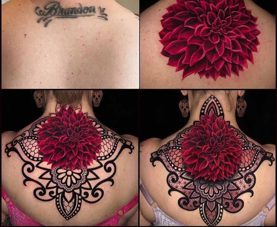 nape tattoo coverup lettering to big flower
