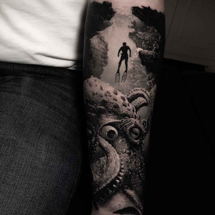 black and grey tattoo diver