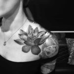 Dotwork Elegant Lotus Tattoo