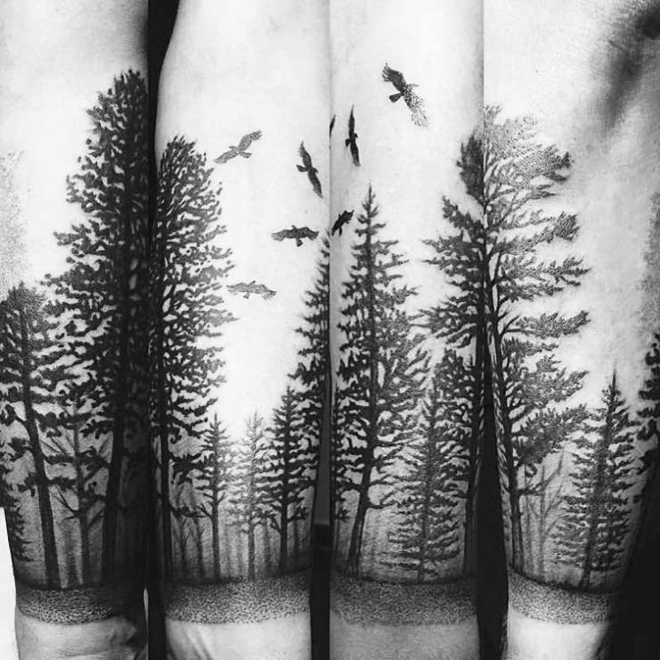 Dotwork Pine Forest Tattoo