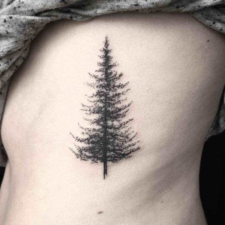 Dotwork Pine Tree Tattoo