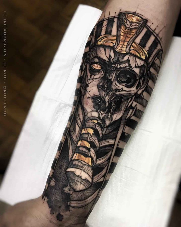 pharaoh skeleton tattoo on arm