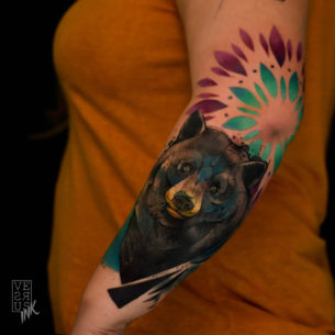 Elbow Bear Tattoo on Arm