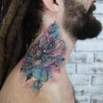 Eye Flower Tattoo on Neck