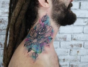 Eye Flower Tattoo on Neck