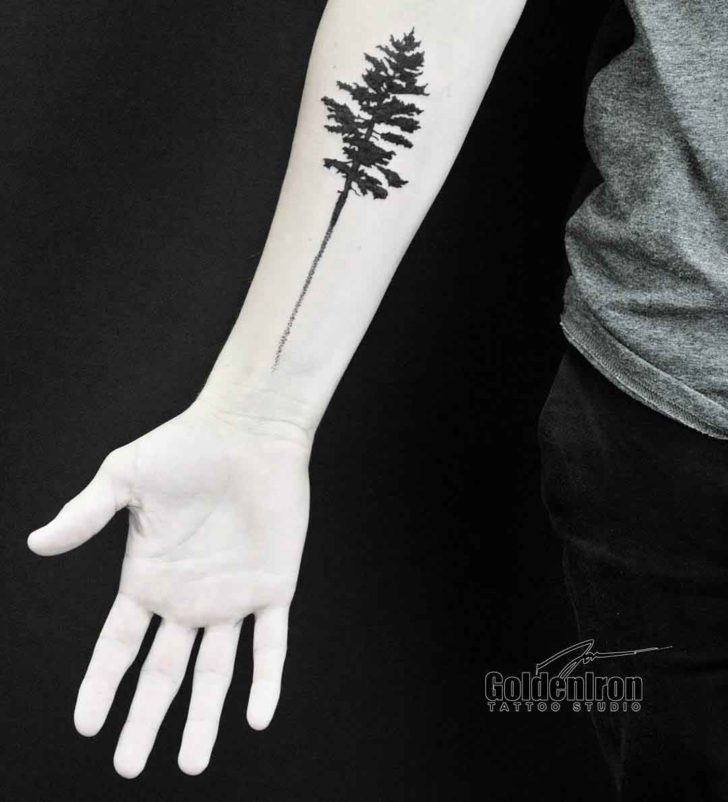 Forearm Blackwork Pine Tattoo