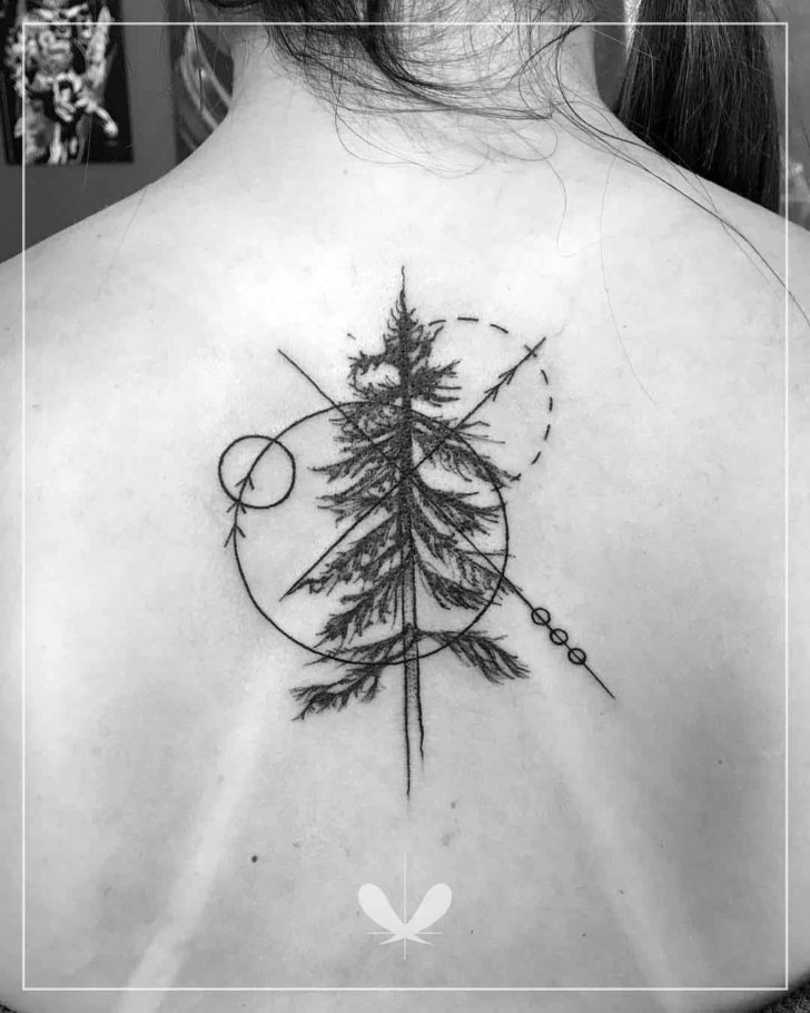 Geometric Elements Pine Tattoo