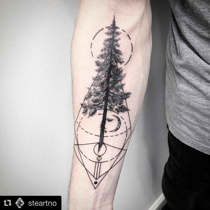 Geometry Pine Tree Tattoo