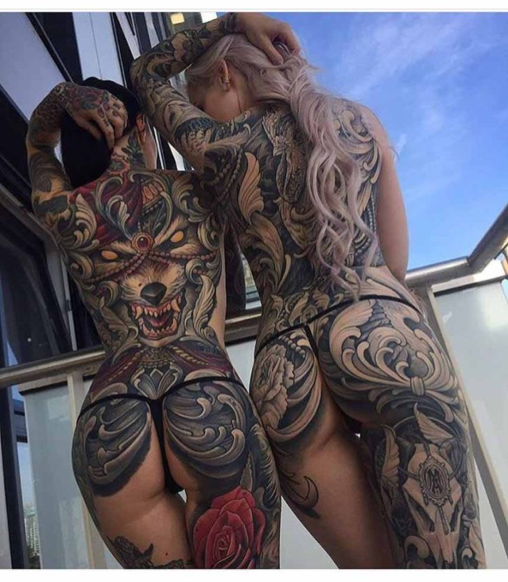 hot girls woth tattoos on backs