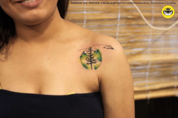 Green Circle Pine Tattoo