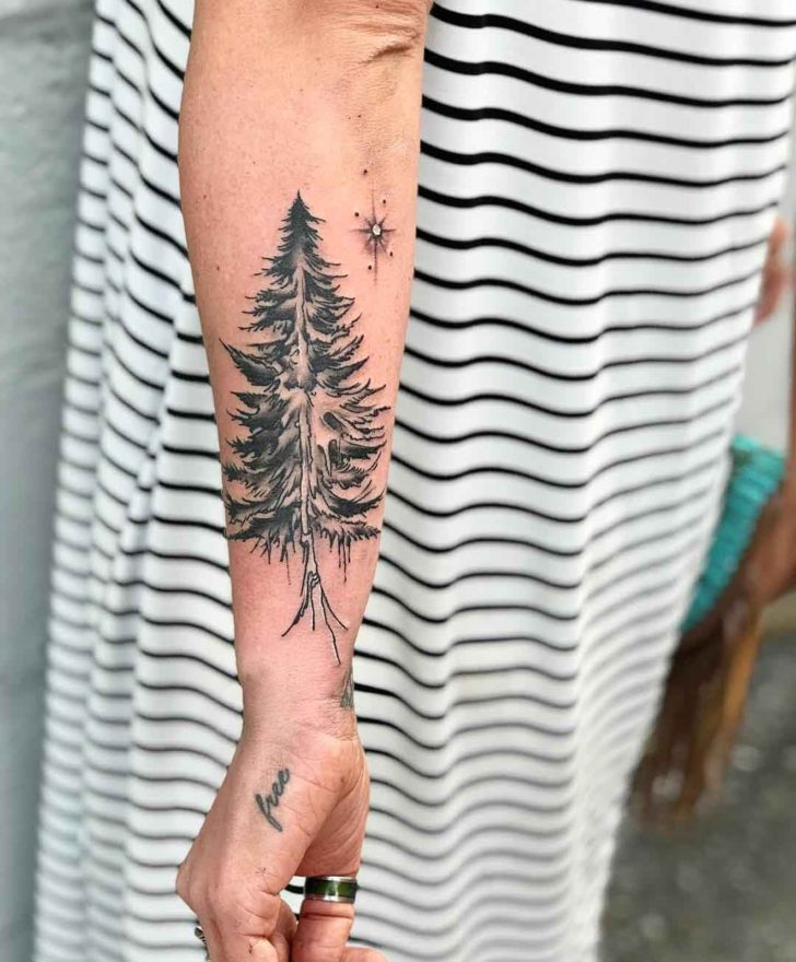 Grey Pine Tree Tattoo