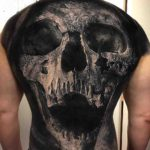 Grey Skull Tattoo on Full Back