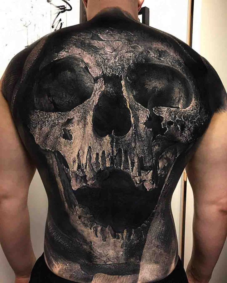 full back tattoo of skull