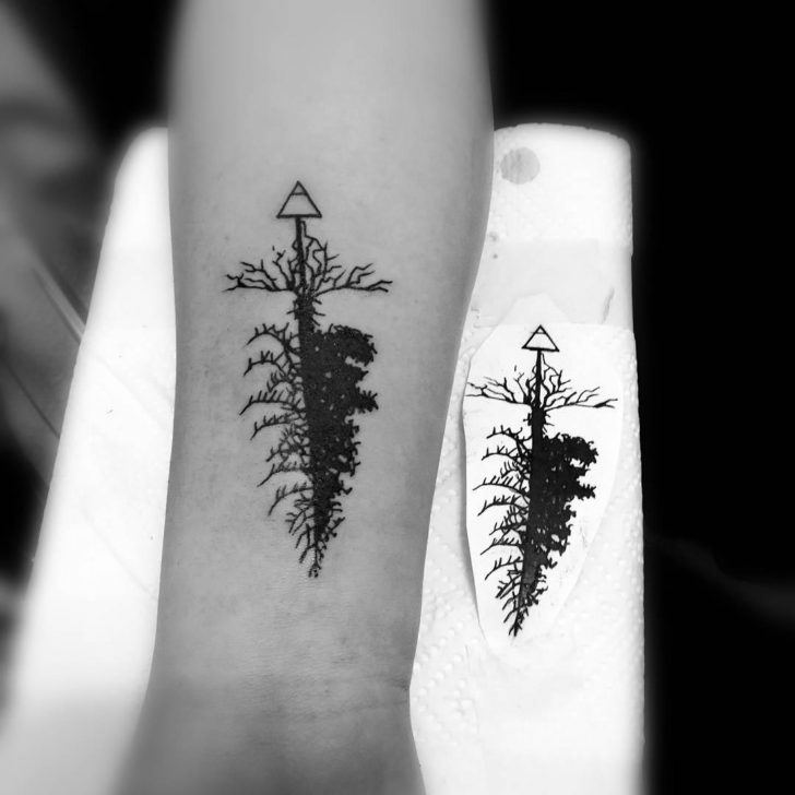 Half Pine Tree Tattoo