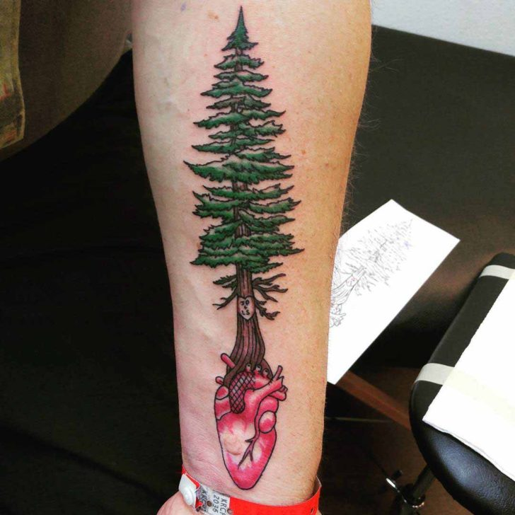 Heart Pine Tree Tattoo