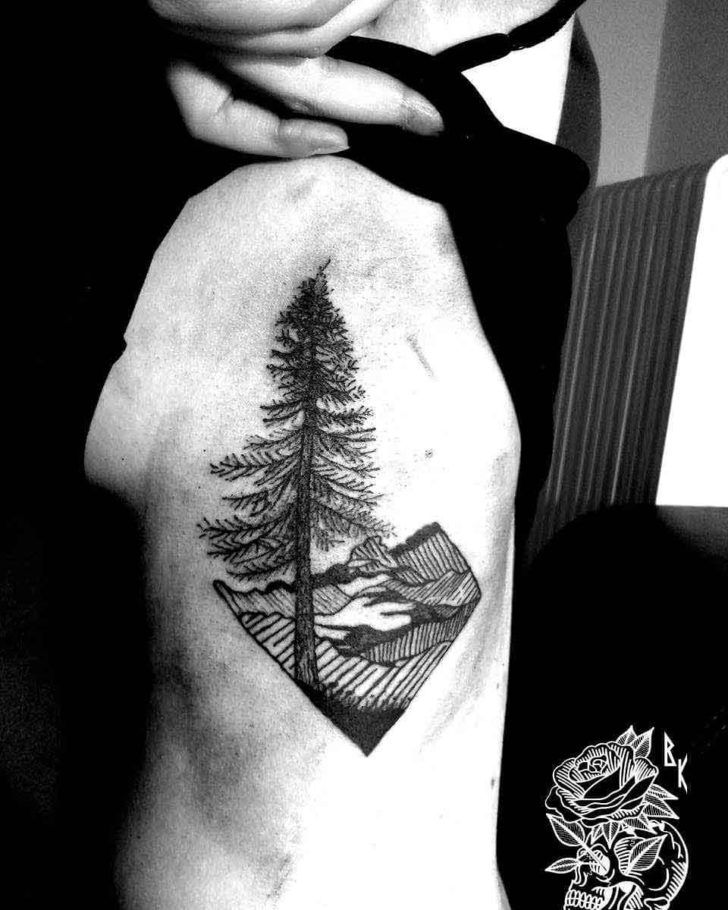 Landscape Pine Tree Tattoo