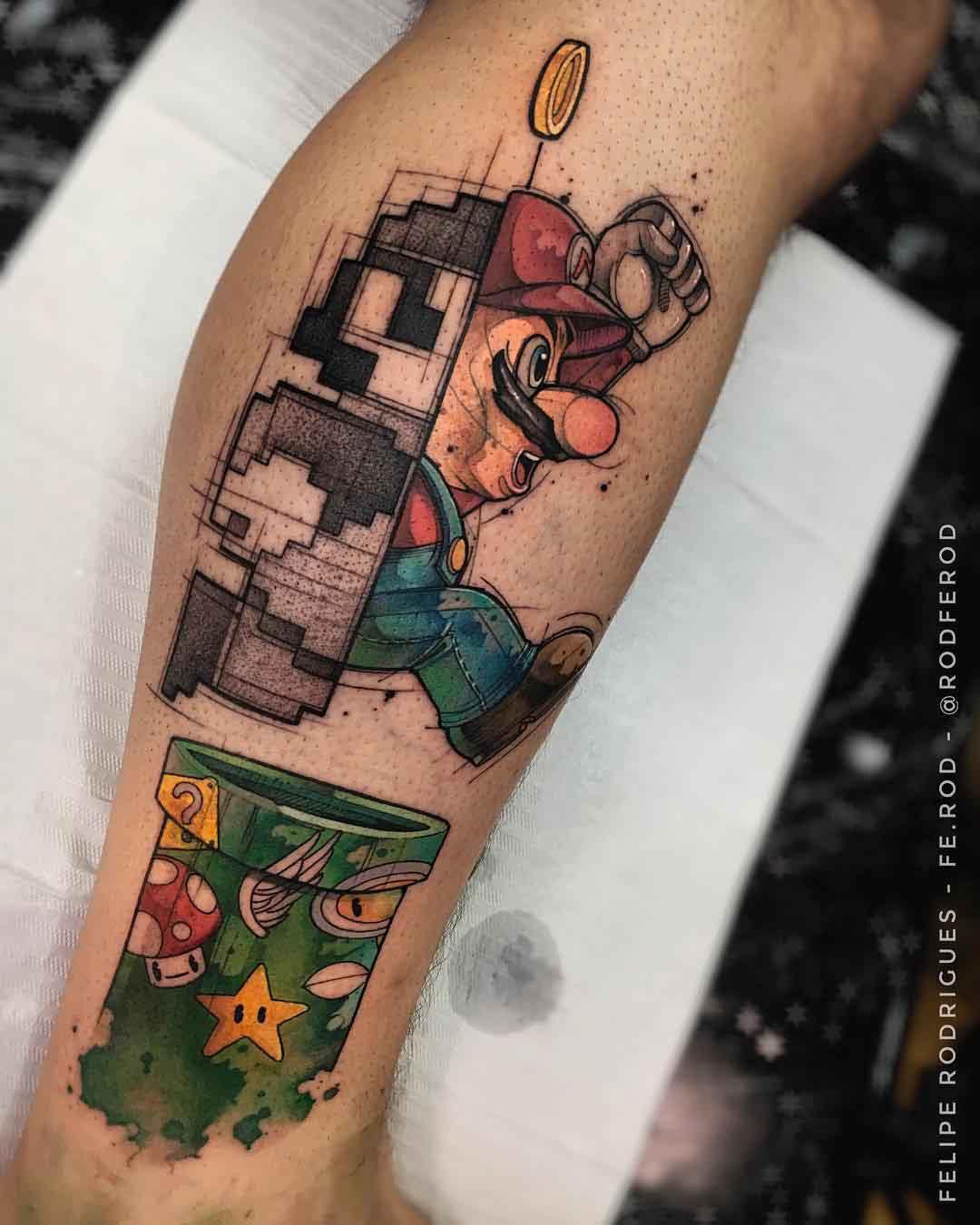 evolution mario tattoo nintendo