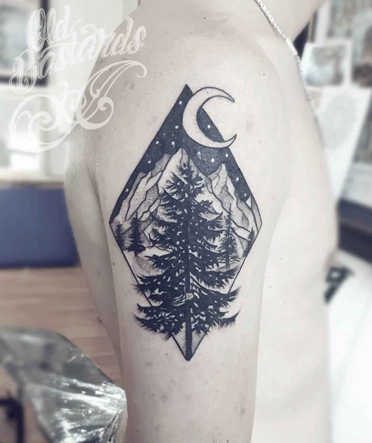 Night Evergreen Tattoo
