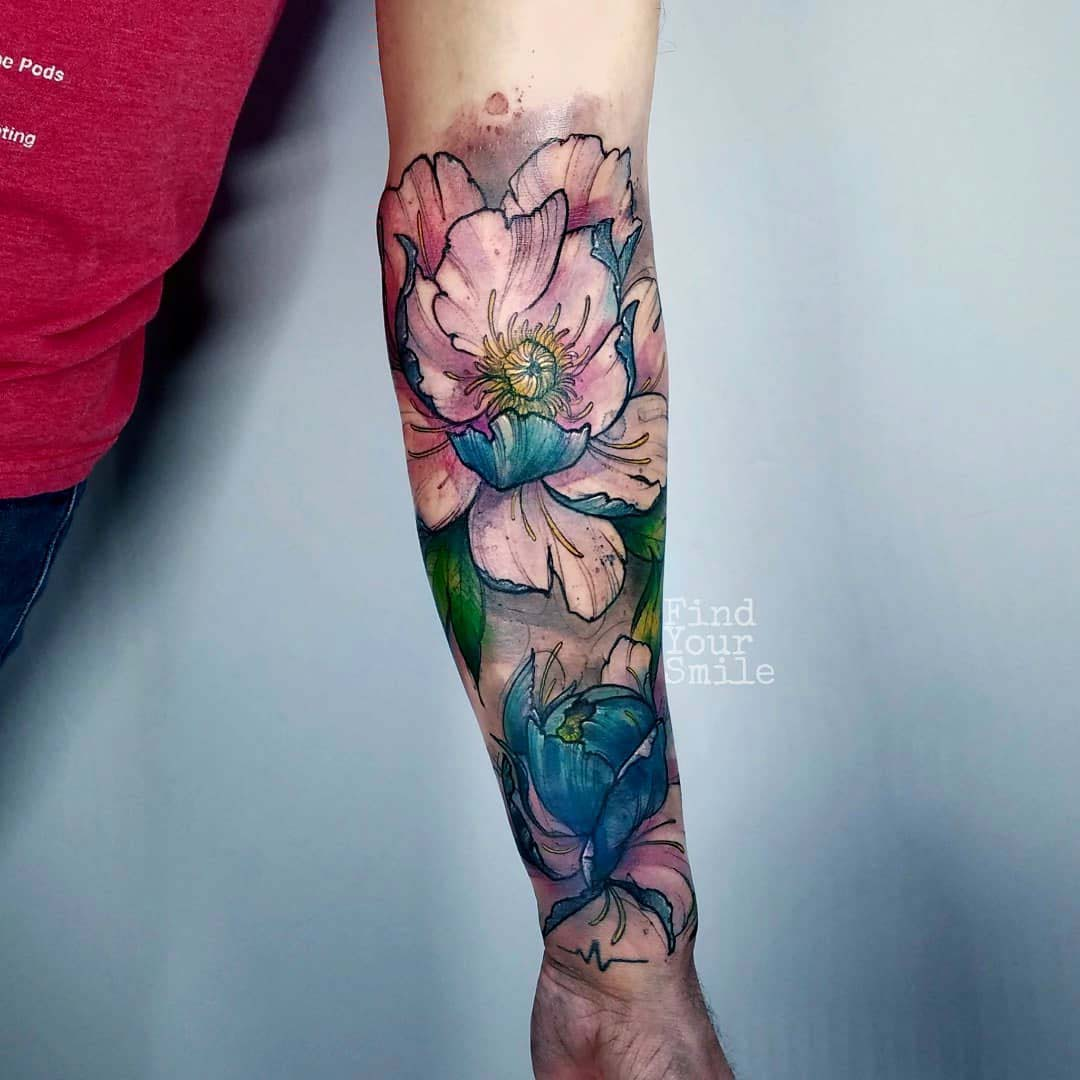 forearm tattoo flowers watercolor style
