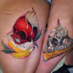 Pie Skull Tattoos For Couples