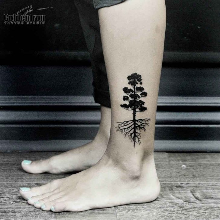 Pine Tree Tattoo on Ankle