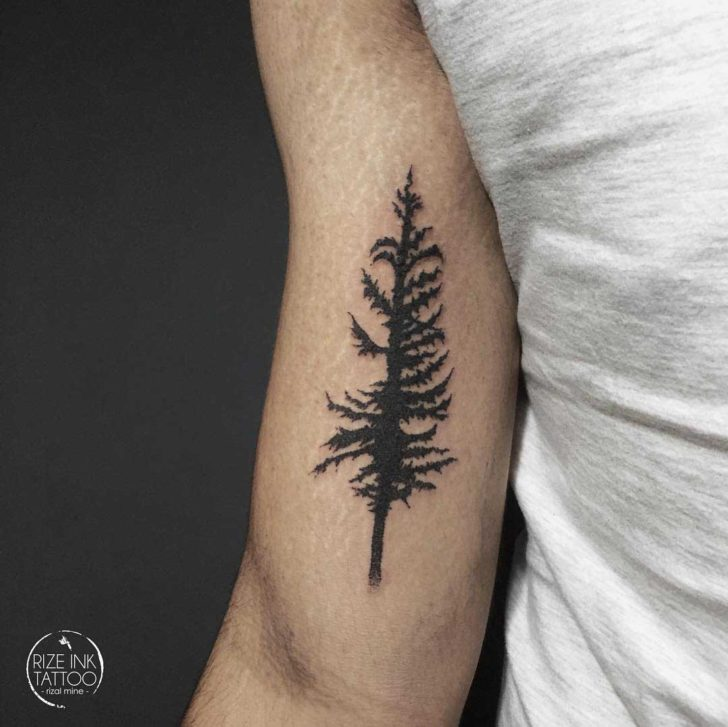 Pine Tree Tattoo on Bicep