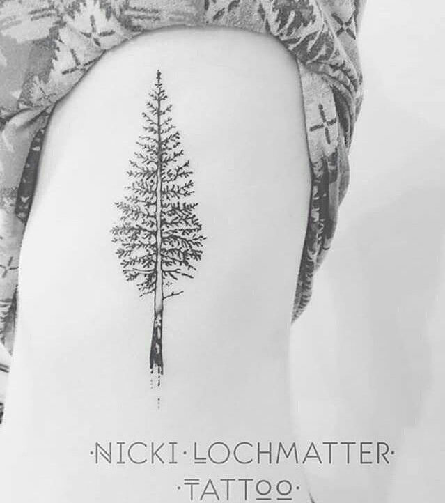 Pine Tree Tattoo on Ribs